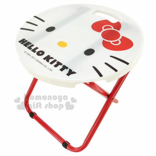 〔小禮堂〕Hello Kitty 折疊椅《白紅.大臉.圓型》可折疊收納