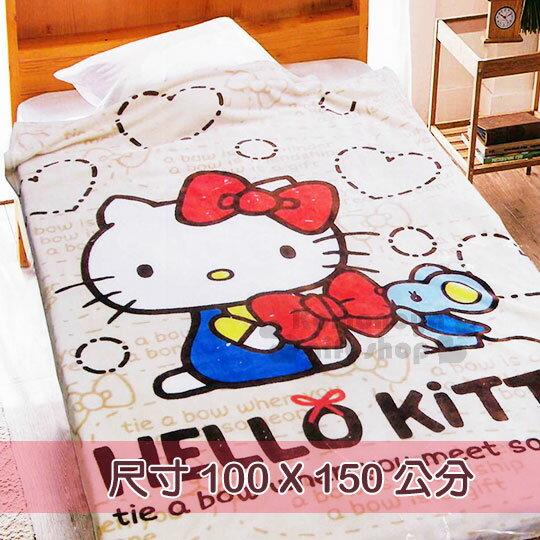 〔小禮堂〕Hello Kitty 法蘭絨毯《米棕.側坐.紅蝴蝶結.小老鼠》毛毯100x150cm
