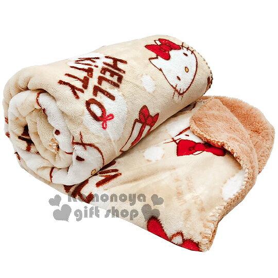 〔小禮堂〕Hello Kitty 法蘭絨披肩毯《米棕.大臉.紅蝴蝶結.禮物.白愛心》毛毯70x120cm
