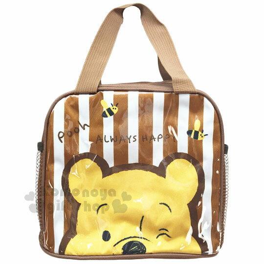 〔小禮堂〕迪士尼 小熊維尼 方形手提便當袋《白棕條紋.大臉.蜜蜂》方便攜帶