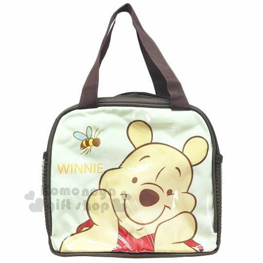 〔小禮堂〕迪士尼 小熊維尼 方形手提便當袋《黃棕.微笑捧臉.蜜蜂》方便攜帶