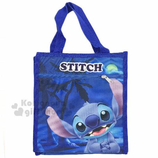 〔小禮堂〕史迪奇尼龍便當提袋《藍.海邊.夜晚.開心》便當袋