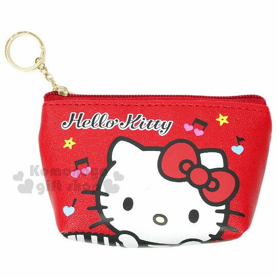 〔小禮堂〕 Hello Kitty 皮質拉鍊零錢包《紅.鋼琴.撐頭.音符》鑰匙鎖圈