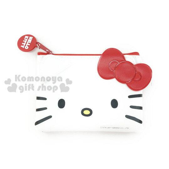 〔小禮堂〕Hello Kitty 皮質票卡夾《紅白.大臉. 拉鍊》