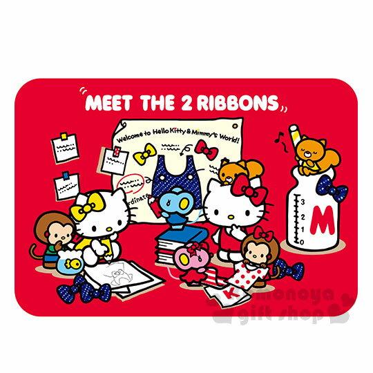 〔小禮堂〕Hello Kitty 腳踏墊《紅.Kitty&Mimmy.姊妹.紅黃蝴蝶結.好朋友.牛奶瓶..65x45cm》止滑海棉軟墊