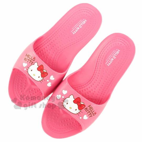 〔小禮堂〕Hello Kitty 抗滑EVA超輕拖鞋《桃紅.大臉.紅蝴蝶結.白愛心》成人尺寸 0