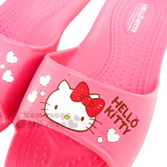 〔小禮堂〕Hello Kitty 抗滑EVA超輕拖鞋《桃紅.大臉.紅蝴蝶結.白愛心》成人尺寸 1