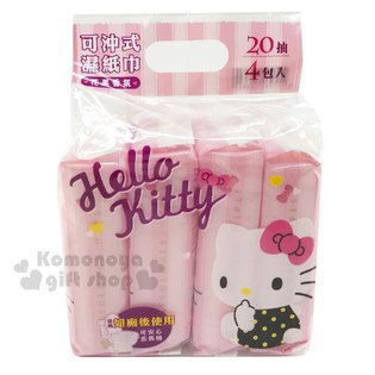 〔小禮堂〕HelloKitty可沖式濕紙巾《4包入.粉條紋.側坐.花果香氣》濕式衛生紙