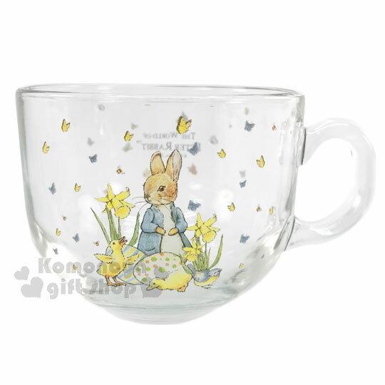 〔小禮堂〕彼得兔 玻璃湯杯《透明.500ml.立兔.小鴨.彩蛋小兔》馬克杯湯碗