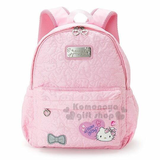 〔小禮堂〕Hello Kitty 兒童後背包~L.粉.大臉.愛心寶石.大臉縫線滿版~散熱