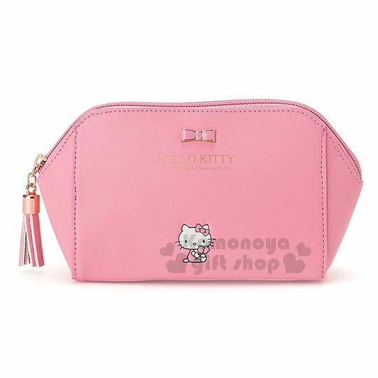 〔小禮堂﹞Hello Kitty 皮質拉鍊化妝包《桃粉.金屬蝴蝶結.小圖.內裡格子》三麗鷗粉色系列 0