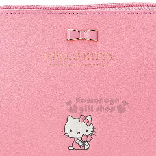 〔小禮堂﹞Hello Kitty 皮質拉鍊化妝包《桃粉.金屬蝴蝶結.小圖.內裡格子》三麗鷗粉色系列 3