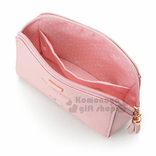 〔小禮堂﹞美樂蒂 皮質拉鍊化妝包《嫩粉.金屬蝴蝶結.小圖.內裡點點》三麗鷗粉色系列 2