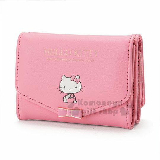 〔小禮堂﹞Hello Kitty 皮質短夾《桃粉.金屬蝴蝶結.小圖.內裡格子》三麗鷗粉色系列 0