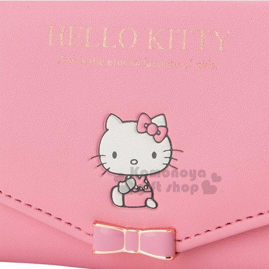 〔小禮堂﹞Hello Kitty 皮質短夾《桃粉.金屬蝴蝶結.小圖.內裡格子》三麗鷗粉色系列 1
