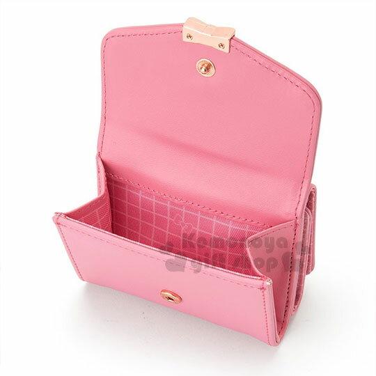 〔小禮堂﹞Hello Kitty 皮質短夾《桃粉.金屬蝴蝶結.小圖.內裡格子》三麗鷗粉色系列 2