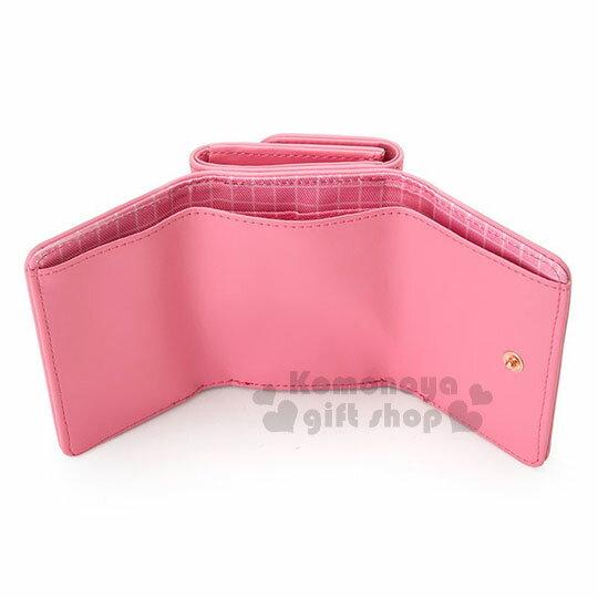 〔小禮堂﹞Hello Kitty 皮質短夾《桃粉.金屬蝴蝶結.小圖.內裡格子》三麗鷗粉色系列 3