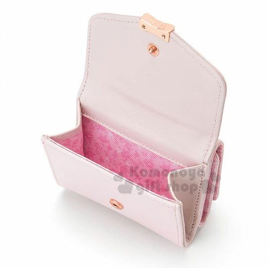 〔小禮堂﹞兔媽媽 皮質短夾《淺粉.金屬蝴蝶結.小圖.內裡小花》三麗鷗粉色系列 1