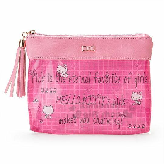 〔小禮堂﹞Hello Kitty 扁平拉鍊化妝包《桃粉.金屬蝴蝶結.英文字.格子》三麗鷗粉色系列 0