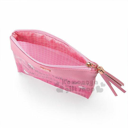 〔小禮堂﹞Hello Kitty 扁平拉鍊化妝包《桃粉.金屬蝴蝶結.英文字.格子》三麗鷗粉色系列 2