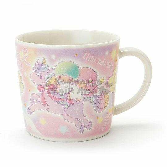 〔小禮堂〕雙子星 日製陶瓷馬克杯《粉紫.雲彩.貓咪.兔子.雲朵.獨角獸》彩虹鬆餅系列