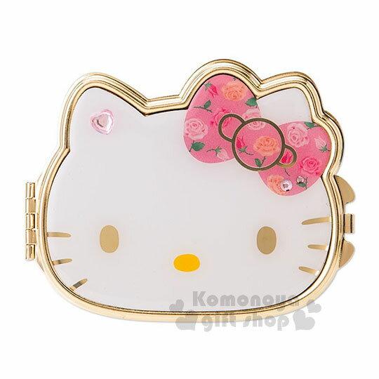 〔小禮堂〕Hello Kitty 造型鏡子《粉.大臉.印花蝴蝶結.粉心鑽》可手拿.折疊桌用