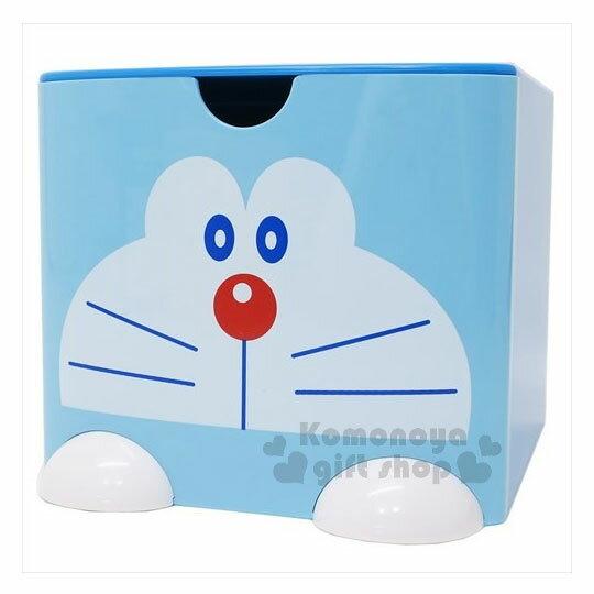 〔小禮堂〕哆啦A夢 桌上單抽積木收納盒《L.藍.大臉》可多個推疊 0