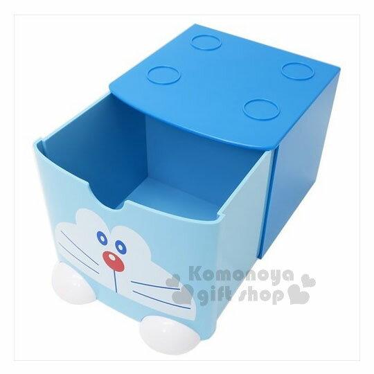 〔小禮堂〕哆啦A夢 桌上單抽積木收納盒《L.藍.大臉》可多個推疊 1