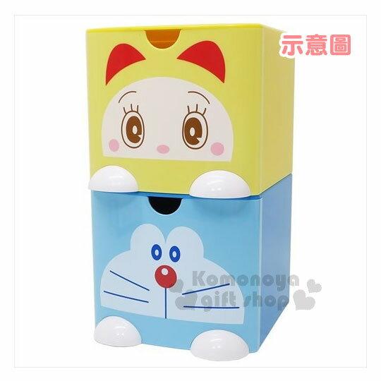 〔小禮堂〕哆啦A夢 桌上單抽積木收納盒《L.藍.大臉》可多個推疊 2