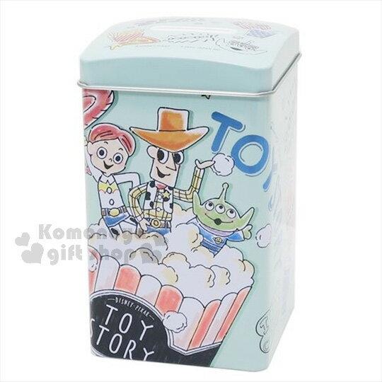 〔小禮堂〕迪士尼 玩具總動員 鐵製存錢筒《綠.漫畫風.爆米花.多角色.胡迪.牛奶盒裝》還可當擺飾