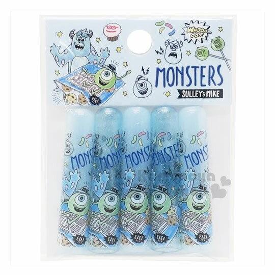 〔小禮堂〕迪士尼 怪獸大學 日製筆蓋組《5入.藍.毛怪.大眼仔.餅乾》