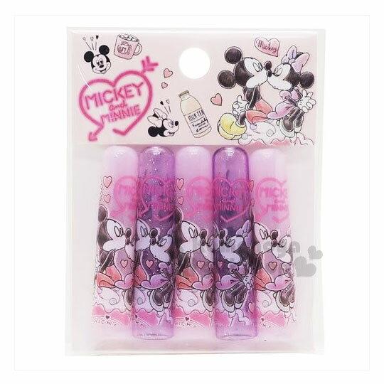 〔小禮堂〕迪士尼 米奇&米妮 日製筆蓋組《5入.粉紫.愛心.擁抱》