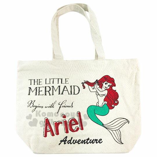 〔小禮堂〕迪士尼 小美人魚 帆布側背包《橫式.米.紅髮.梳髮》無染色胚布 0