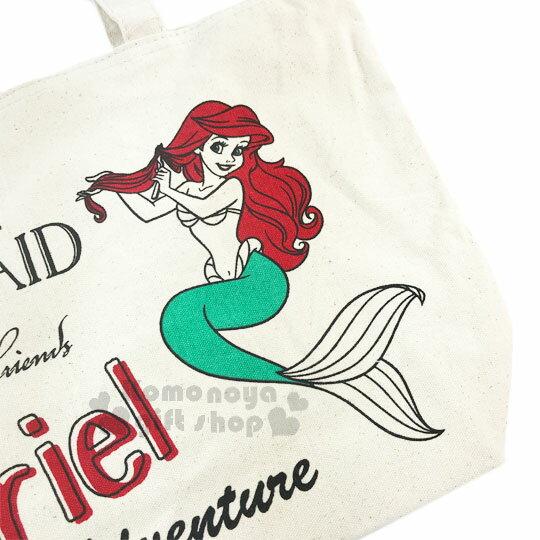 〔小禮堂〕迪士尼 小美人魚 帆布側背包《橫式.米.紅髮.梳髮》無染色胚布 1