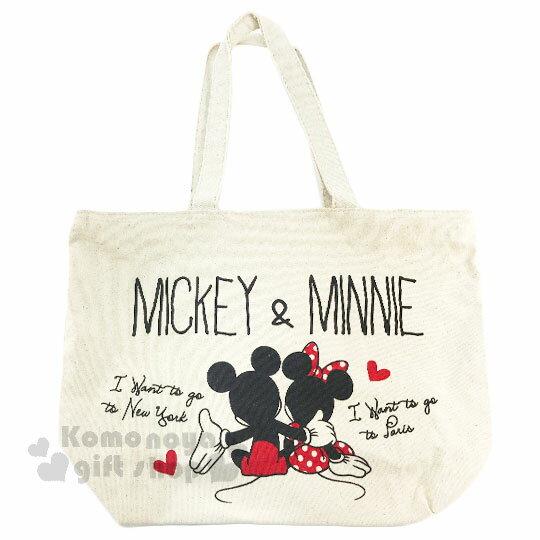〔小禮堂〕迪士尼 米奇米妮 帆布側背包《橫式.米.摟肩.愛心》無染色胚布 0