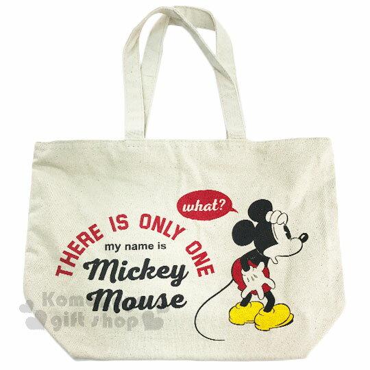 〔小禮堂〕迪士尼 米奇 帆布側背包《橫式.米.摟肩.愛心》無染色胚布 0