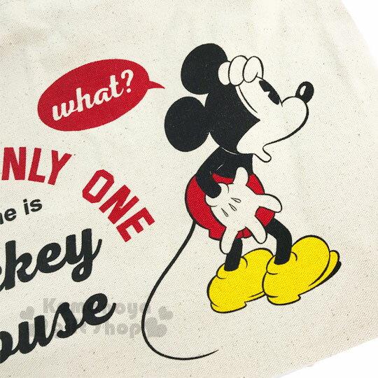 〔小禮堂〕迪士尼 米奇 帆布側背包《橫式.米.摟肩.愛心》無染色胚布 1
