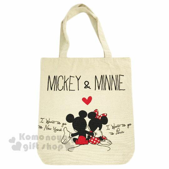〔小禮堂〕迪士尼 米奇米妮 帆布側背包《直式.米.摟肩.愛心》無染色胚布 0