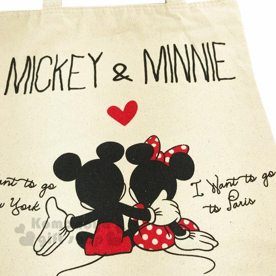 〔小禮堂〕迪士尼 米奇米妮 帆布側背包《直式.米.摟肩.愛心》無染色胚布 1
