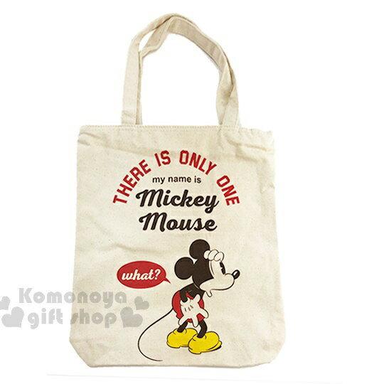 〔小禮堂〕迪士尼 米奇 帆布側背包《直式.米.摟肩.愛心》無染色胚布 0
