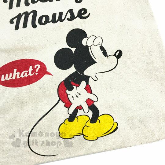 〔小禮堂〕迪士尼 米奇 帆布側背包《直式.米.摟肩.愛心》無染色胚布 1