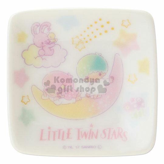〔小禮堂〕雙子星 日製陶瓷小碟子《白.粉黃月亮.星星滿版》彩虹鬆餅系列