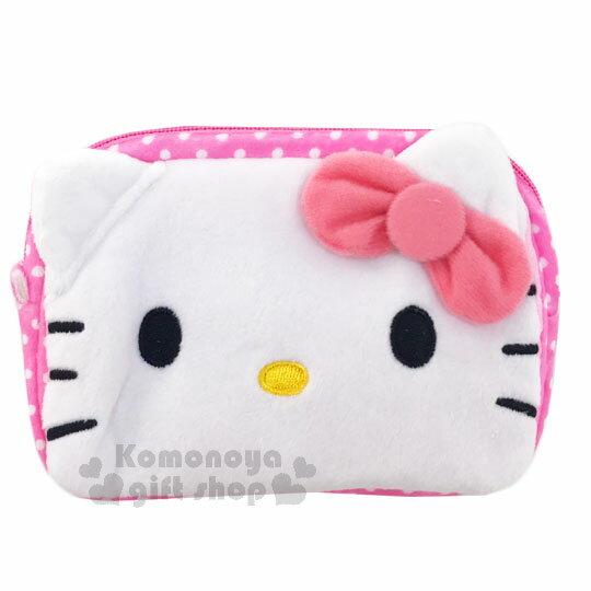 〔小禮堂〕Hello Kitty 拉鍊面紙收納包《粉.點點.蕾絲.大臉》可放濕紙巾.衛生紙 0
