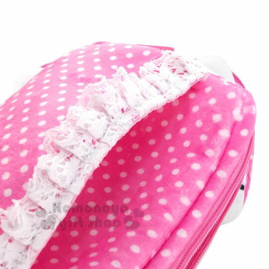 〔小禮堂〕Hello Kitty 拉鍊面紙收納包《粉.點點.蕾絲.大臉》可放濕紙巾.衛生紙 1