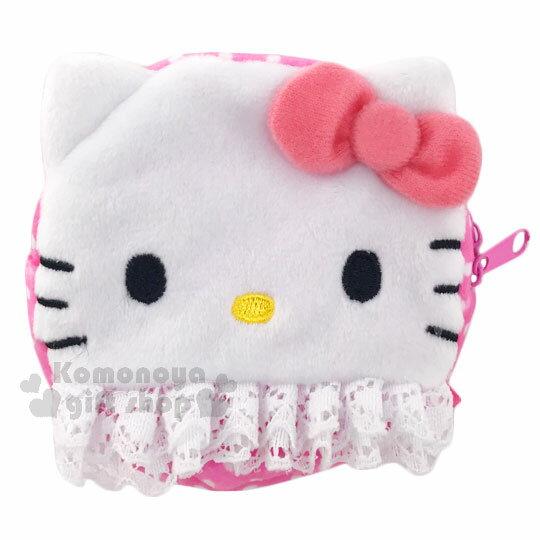 〔小禮堂〕Hello Kitty 拉鍊面紙收納包《粉.點點.蕾絲.大臉》可當零錢包 0
