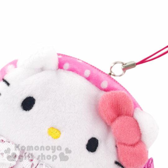 〔小禮堂〕Hello Kitty 拉鍊面紙收納包《粉.點點.蕾絲.大臉》可當零錢包 1
