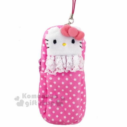 〔小禮堂〕Hello Kitty 絨布拉鍊收納包《粉.點點.蕾絲.大臉》可放護手霜.口紅 0