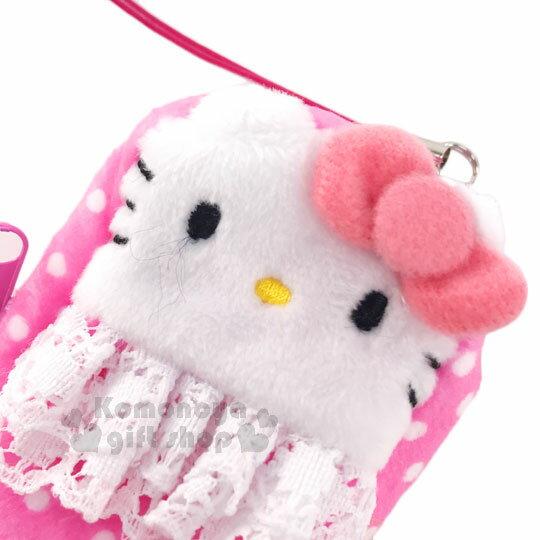 〔小禮堂〕Hello Kitty 絨布拉鍊收納包《粉.點點.蕾絲.大臉》可放護手霜.口紅 1