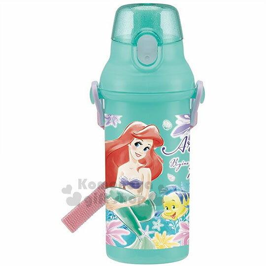 特價399↘〔小禮堂〕迪士尼小美人魚日製直飲式水壺《綠.水彩風.花朵.賽巴斯汀.480ml》附背帶