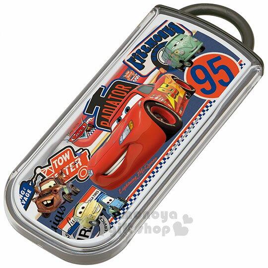 〔小禮堂〕迪士尼閃電麥坤CARS日製三件式餐具組《紅黑.95.好朋友》滑蓋式開法